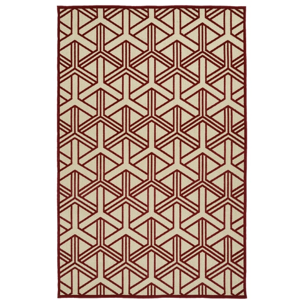Indoor/Outdoor Luka Red Dimensions Rug - 7'10 x 10'8