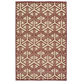Indoor/Outdoor Luka Red Dimensions Rug (7'10 x 10'8)