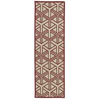 Indoor/Outdoor Luka Red Dimensions Rug - 2'6 x 7'10