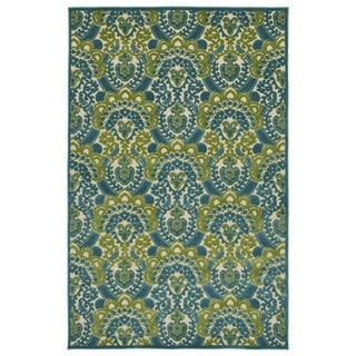 "Indoor/Outdoor Luka Blue Damask Rug - 3'10"" x 5'8"""