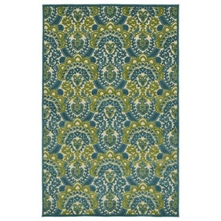 "Indoor/Outdoor Luka Blue Damask Rug (3'10 x 5'8) - 3'10"" x 5'7"""