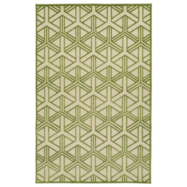 Indoor/Outdoor Luka Green Dimensions Rug - 7'10 x 10'8