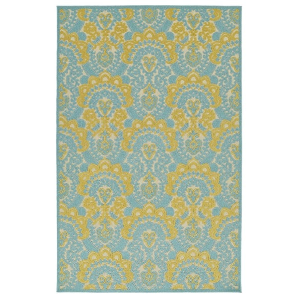Indoor/Outdoor Luka Gold Damask Rug (2'1 x 4'0)