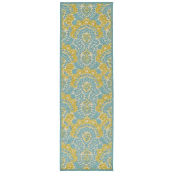 Indoor/Outdoor Luka Gold Damask Rug - 2'6 x 7'10