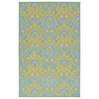 Indoor/Outdoor Luka Gold Damask Rug - 7'10 x 10'8