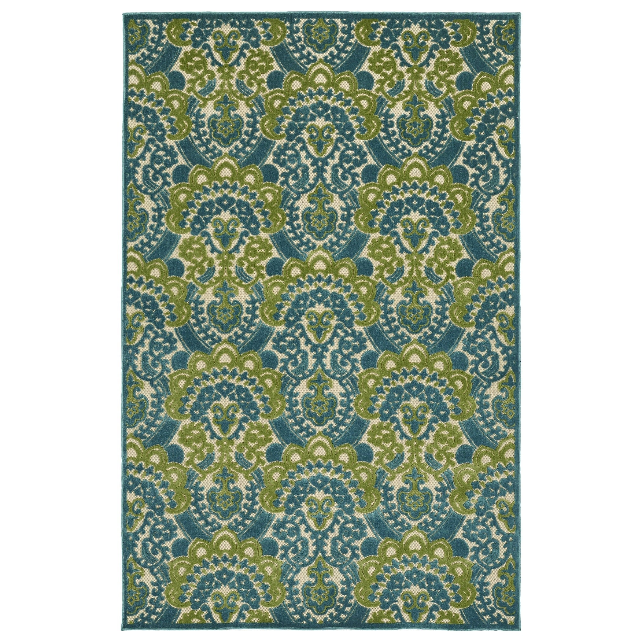 Bombay Home Indoor/Outdoor Luka Blue Damask Rug (2' x 4')...