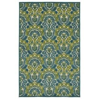"Indoor/Outdoor Luka Blue Damask Rug (5' x 7'6"")"