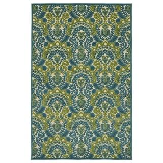 Indoor/Outdoor Luka Blue Damask Rug (7'10 x 10'8)