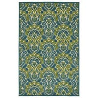 Indoor/Outdoor Luka Blue Damask Rug - 7'10 x 10'8