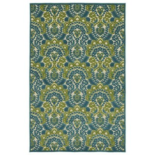"Indoor/Outdoor Luka Blue Damask Rug - 8'8"" x 12'"