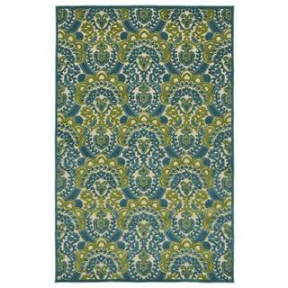 Indoor/Outdoor Luka Blue Damask Rug (8'8 x 12'0)