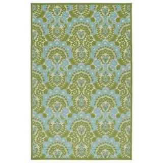 "Indoor/Outdoor Luka Green Damask Rug - 2'1"" x 4'"