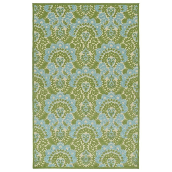 Indoor/Outdoor Luka Green Damask Rug - 8'8 x 12'0