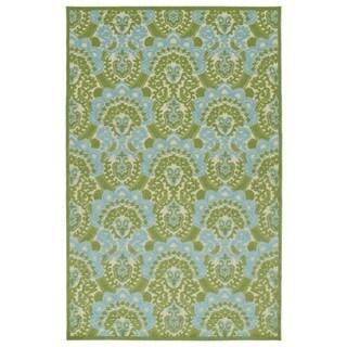 Indoor/Outdoor Luka Green Damask Rug (8'8 x 12'0)