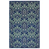 Indoor/Outdoor Luka Navy Damask Rug - 2' x 4'