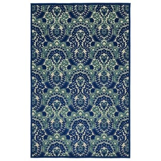 "Indoor/Outdoor Luka Navy Damask Rug - 3'10"" x 5'8"""