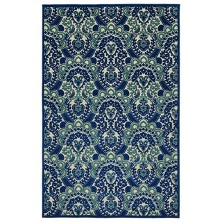 Indoor/Outdoor Luka Navy Damask Rug - 7'10 x 10'8
