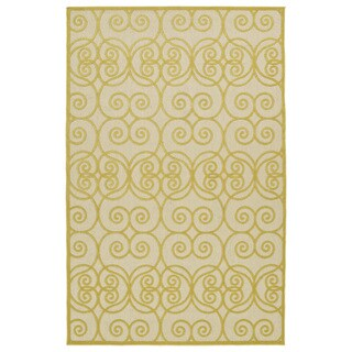 "Indoor/Outdoor Luka Gold Scroll Rug - 3'10"" x 5'7"""