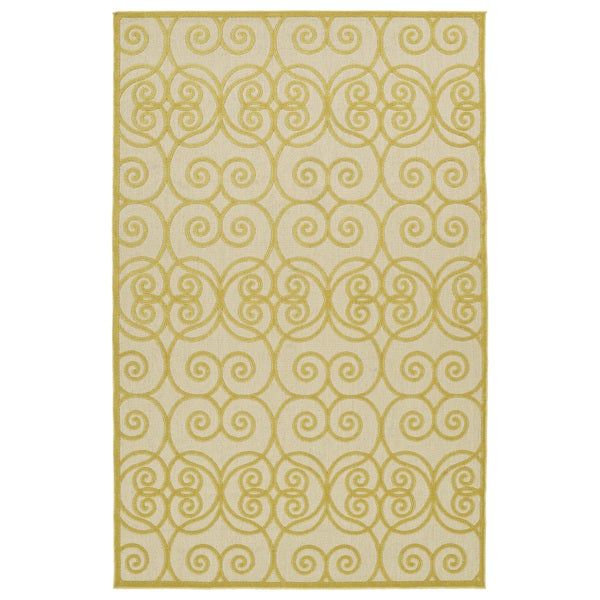 "Indoor/Outdoor Luka Gold Scroll Rug - 8'8"" x 12'"