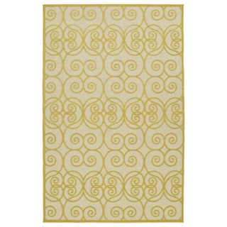 Indoor/Outdoor Luka Gold Scroll Rug (8'8 x 12'0)
