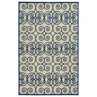 "Indoor/Outdoor Luka Navy Scroll Rug - 8'8"" x 12'"