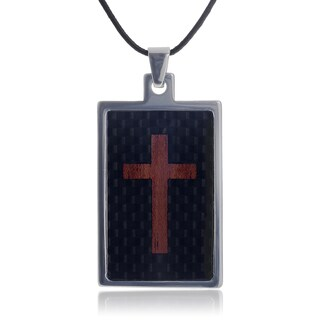Vance Co. Tungsten Cross Inlay Dog Tag Pendant
