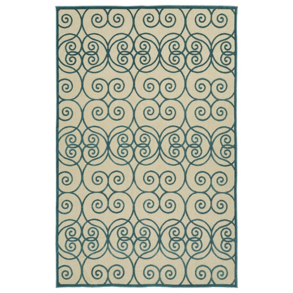 "Indoor/Outdoor Luka Blue Scroll Rug - 8'8"" x 12'"