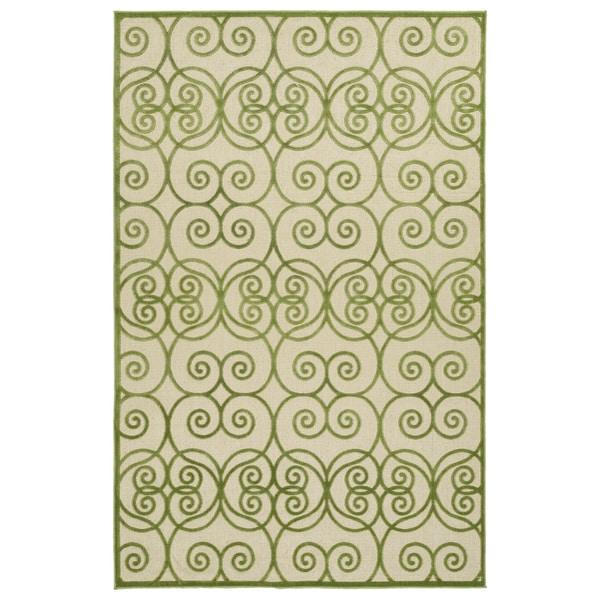 """Indoor/Outdoor Luka Green Scroll Rug - 8'8"""" x 12'"""