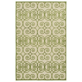 Indoor/Outdoor Luka Green Scroll Rug (8'8 x 12'0)