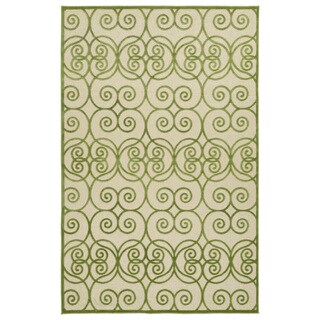 "Indoor/Outdoor Luka Green Scroll Rug - 8'8"" x 12'"