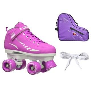 Epic Purple Galaxy Elite Quad Roller Skate 3 Piece Bundle