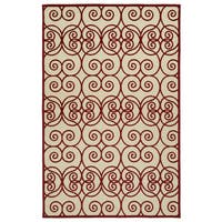 Indoor/Outdoor Luka Red Scroll Rug - 2' x 4'