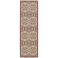 Indoor/Outdoor Luka Red Scroll Rug - 2'6 x 7'10