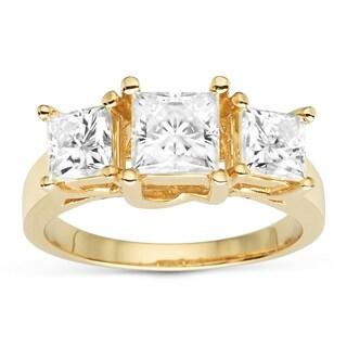 Charles & Colvard 14k Yellow Gold 2.20 TGW Square Forever Brilliant Moissanite 3-Stone Ring