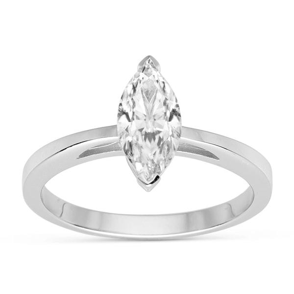 Charles & Colvard 14k White Gold 1.00 TGW Marquise Forever Brilliant Moissanite Solitaire Ring