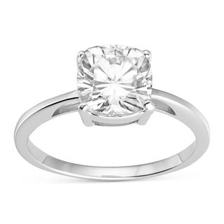 Charles & Colvard 14k White Gold 2.00 TGW Cushion Classic Moissanite Solitaire Ring