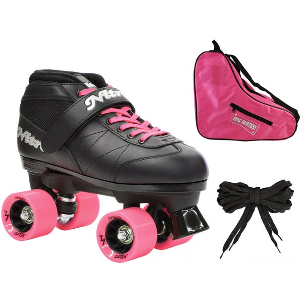 Epic Super Nitro Pink Quad Speed Roller Skates (3-piece Bundle)