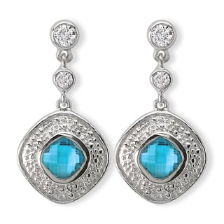 Avanti Sterling Silver Blue Cubic Zirconia Dangle Earrings