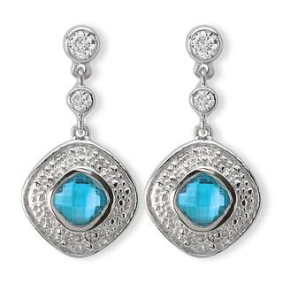 Avanti Sterling Silver Blue Cubic Zirconia Dangle Earrings