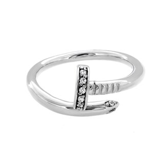 Sterling Essentials Sterling Silver Cubic Zirconia Nail Ring