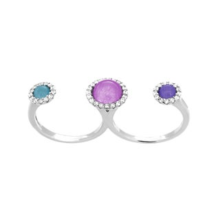 Roberto Martinez Sterling Silver Multi-colored Cubic Zirconia Double Finger Ring