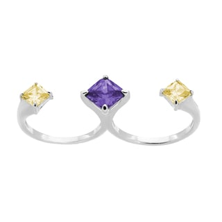 Sterling Essentials Sterling Silver Purple and Yellow Cubic Zirconia Double Finger Ring