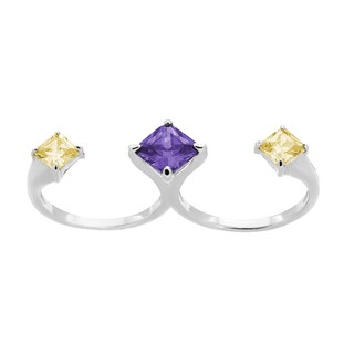 Sterling Silver Purple and Yellow Cubic Zirconia Double Finger Ring