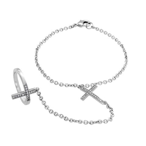 Sterling Silver Cubic Zirconia Double Cross Bracelet