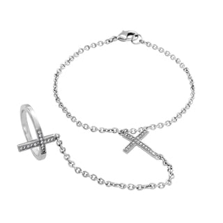 Sterling Essentials Sterling Silver Cubic Zirconia Double Cross Bracelet