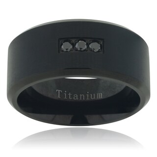 Vance Co. Titanium Men's Black Diamond Accent Matte Band (10mm)