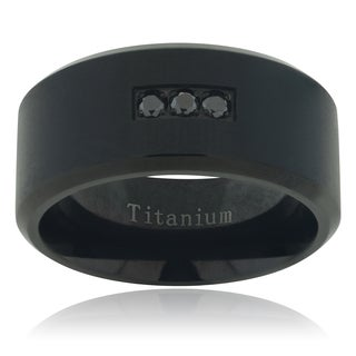 Titanium 1/10 TDW Men's Black Diamond Accent Matte Band (I1-I2)