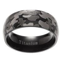Vance Co. Men's Domed Military Army Gray Camouflage Design Titanium Ring (8mm)
