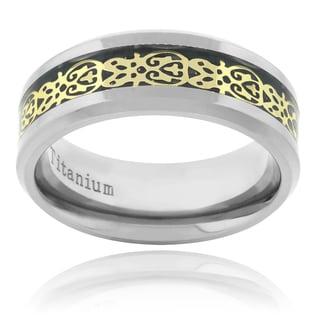 Vance Co. Titanium Men's Aztec Black Carbon Fiber Inlay Ring (8mm)