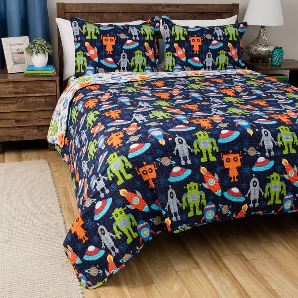 Greenland Home Fashions Robots in Space 3-piece Cotton Quilt Set